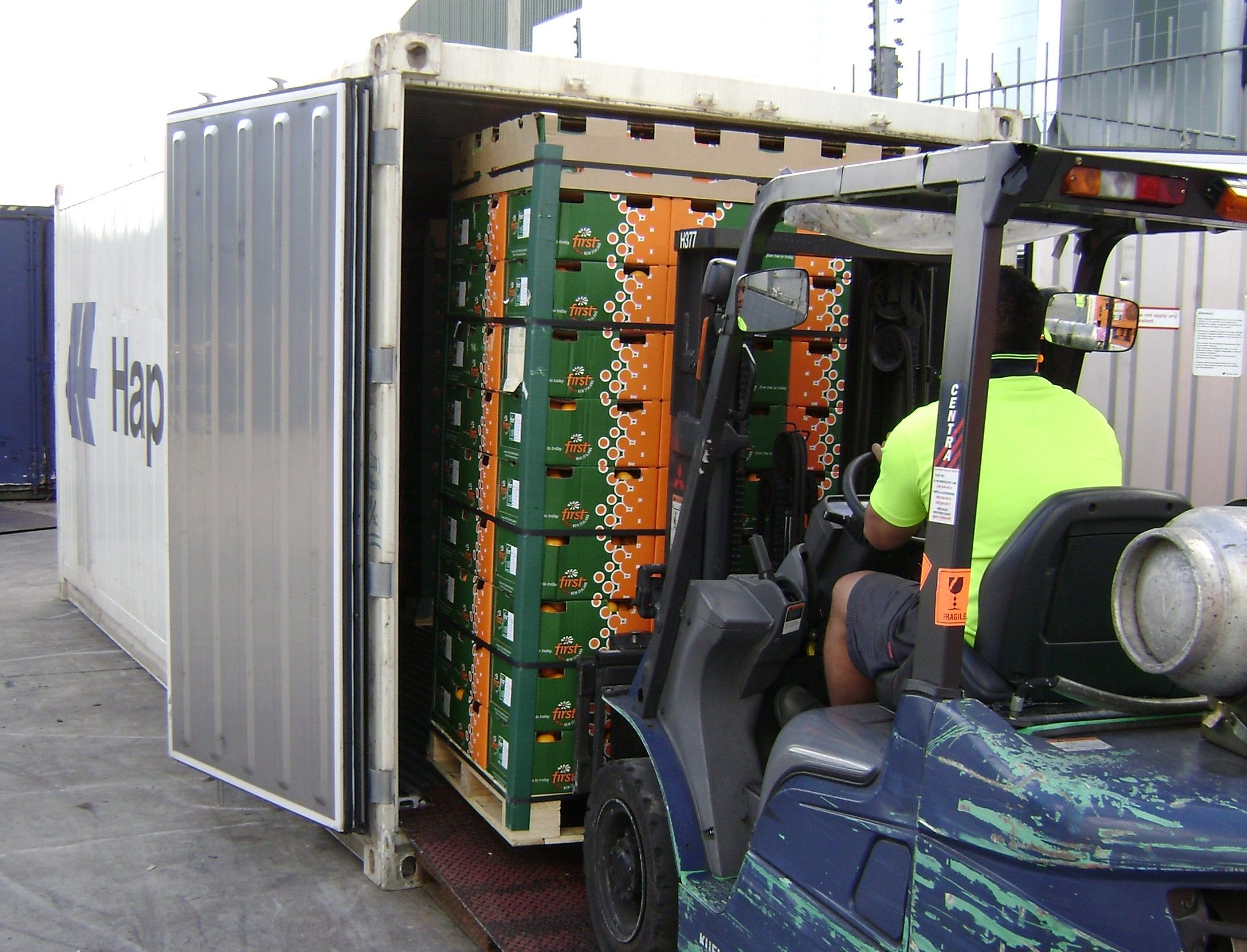 Loading Fruit Into Purfresh Container